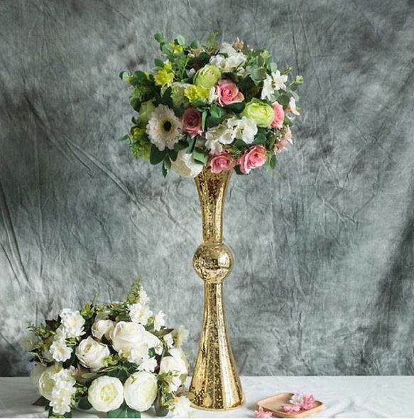 Tall Gold Mercury Trumpet Vase