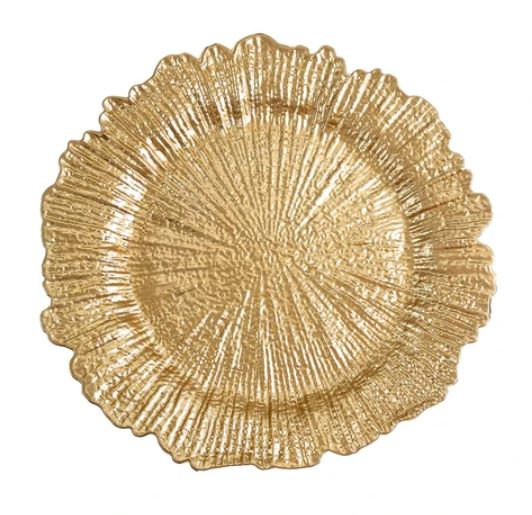 Round Reef Gold Plastic Charger