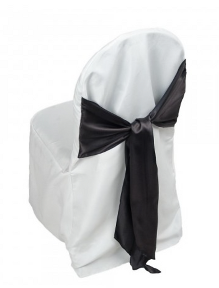 Chair Cover -White with Black Sash