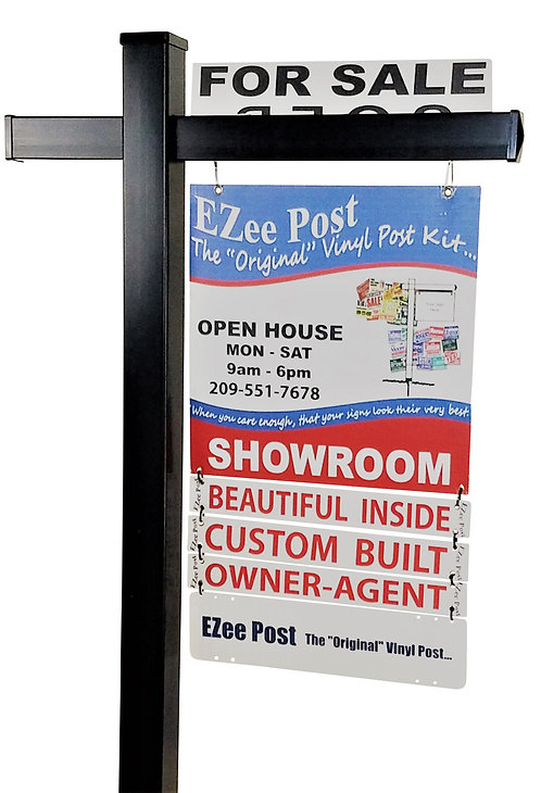 EZee Post Classic Yard Sign Post - Black