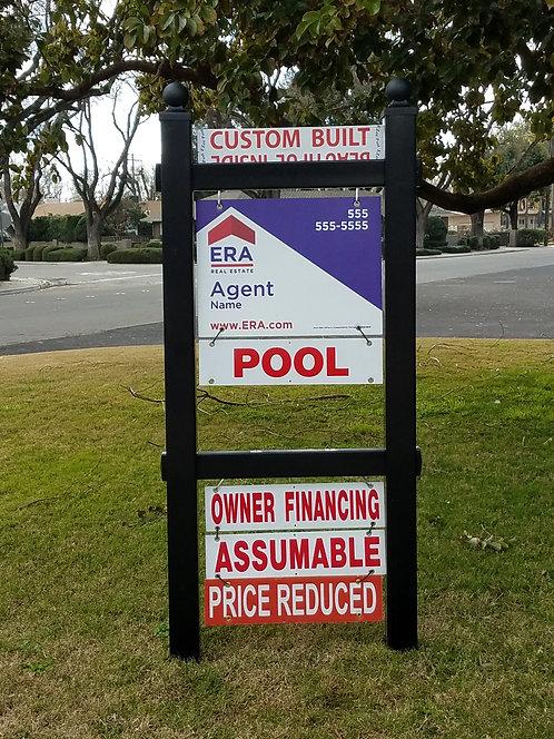 Black Double Eagle Ball Cap Real Estate Sign Post