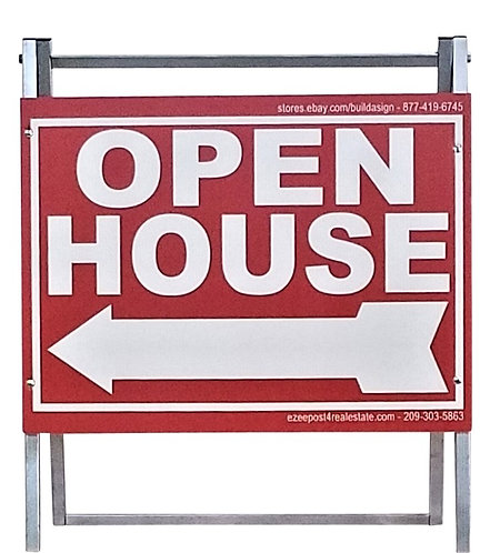 """EZee Post Standard Metal """"A"""" Frame Open House Sign Kit, 3-Pack - Red"""