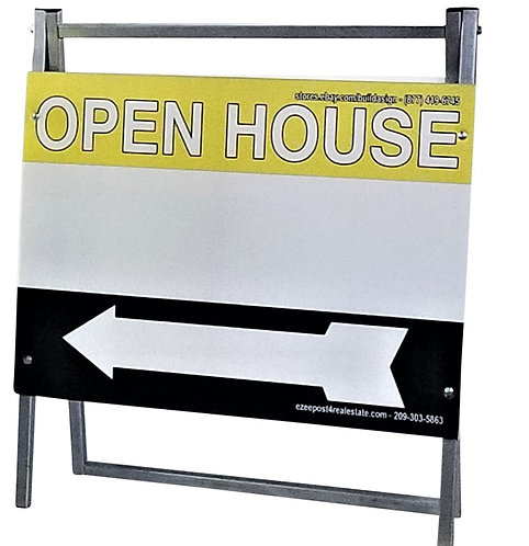 "EZee Post Standard Metal ""A"" Frame Open House Sign Kit, 3-Pack, Yellow/Black"