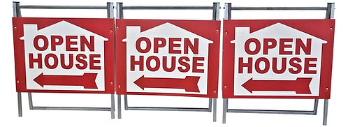 Open House Sign Kit Metal A-Frame - 3 Pack -  Red House Graphic