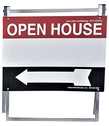 "EZee Post Standard Metal ""A"" Frame Open House Sign Kit, 3-Pack - Red/Black/White"