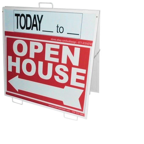 "EZee Post Slip'n  Slide ""A"" Frame Open House Sign Kit, 3-Pack - Red"