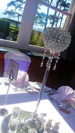 Tall globes with crystals