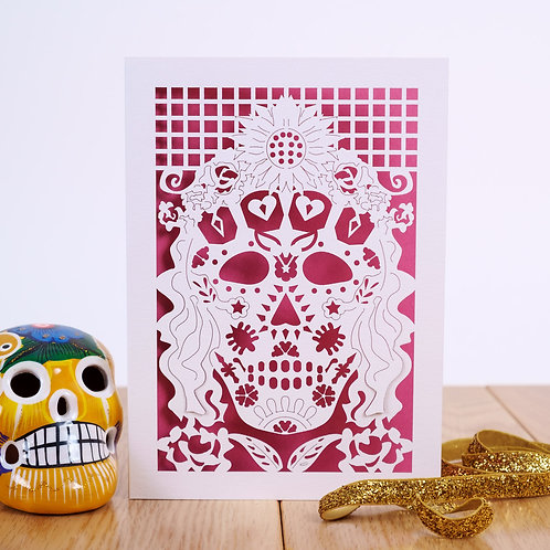 Mexicana Laser Cut Card, Day of the Dead Card