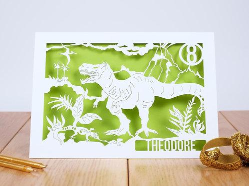 Tyrannosaurus Rex Dinosaur Birthday Card