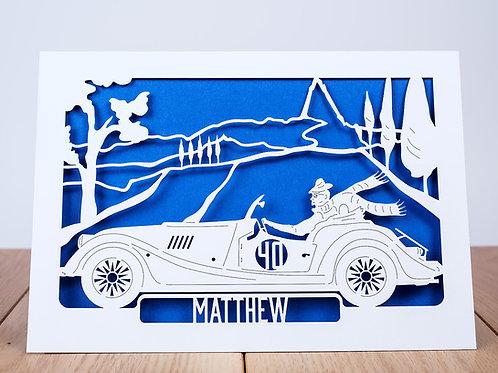 Vintage Car Personalised Birthday Card