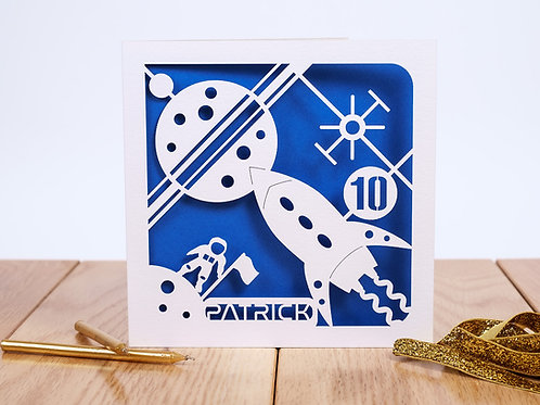 Space Personalised Laser Cut Birthday Card