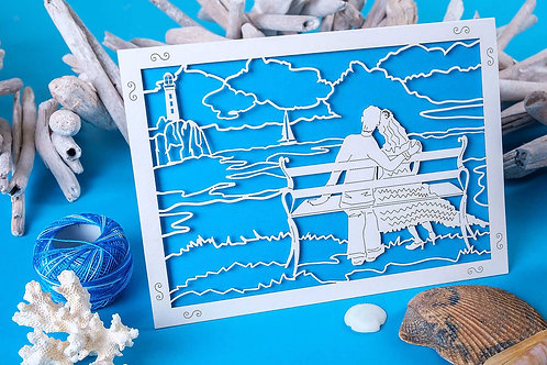 By the Sea Laser Cut Anniversary Card