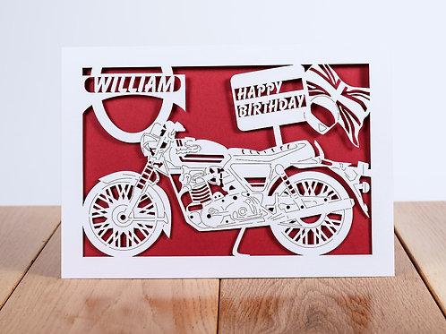 Vintage Motorbike Personalised Birthday Card