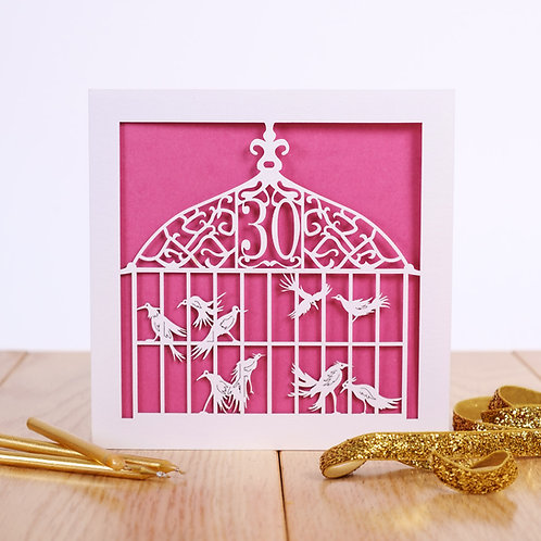 The Aviary Laser Cut 30th Birthday Card
