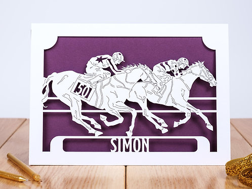 The Horse Race Personalised Birthday Card