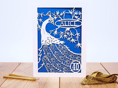 Peacock Birthday Card