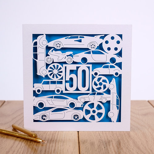 Cars Birthday Card - Personalised to any age