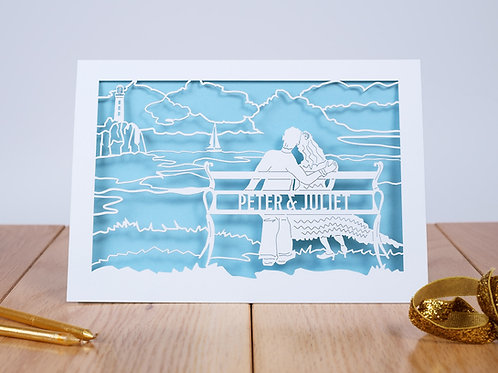 By the Sea Personalised Laser Cut Anniversary Card