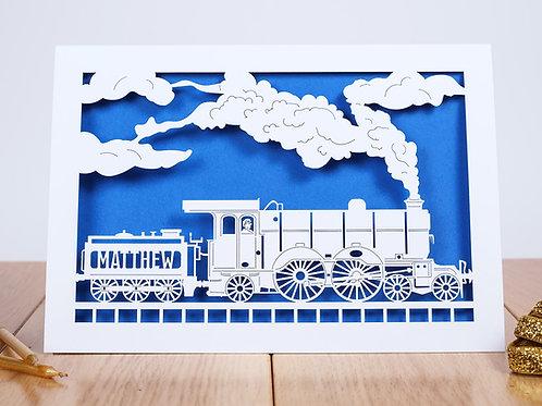 Steam Train Personalised Birthday Card