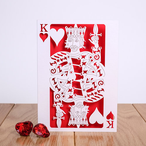 King of Hearts Laser Cut Card