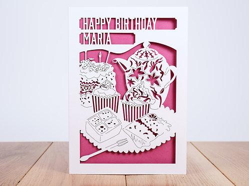 Tea and Cake Personalised Birthday Card