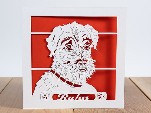 Border Terrier Dog, Personalised Birthday Card