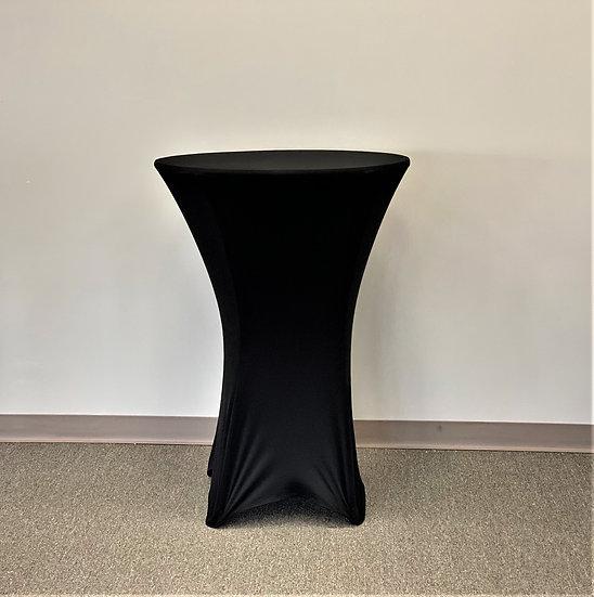 "Black 30"" Round Spandex Tablecloth"