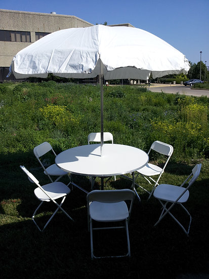 White Wood Table with Umbrella