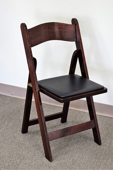 Mahogany Wood Folding Chair with black pad