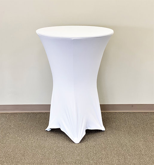"White 30"" Round Spandex Tablecloth"
