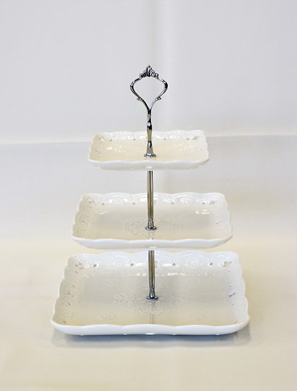 3 Tier Stand Sq White China Plates (1pc)