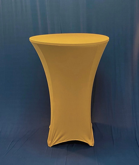 """30"""" Round Spandex Gold Cocktail Tablecloth"""
