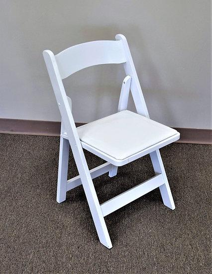 Chair White Wood w/White Pad Folding