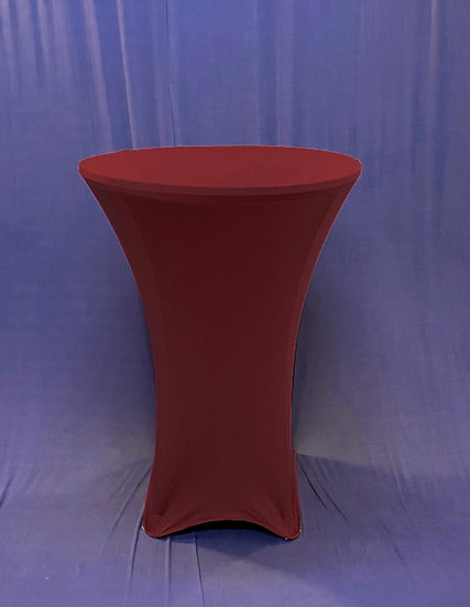 "30"" Round Spandex Burgundy Cocktail Tablecloth"