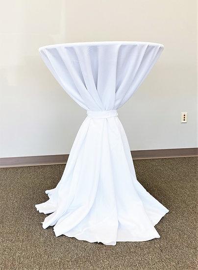 "White 132"" Round Tablecloth"