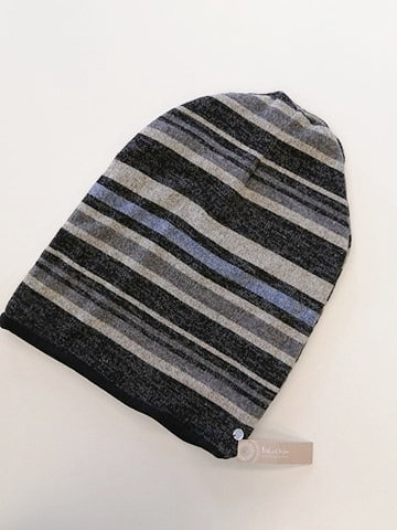 Tuque baluchon rayure gris-bleu
