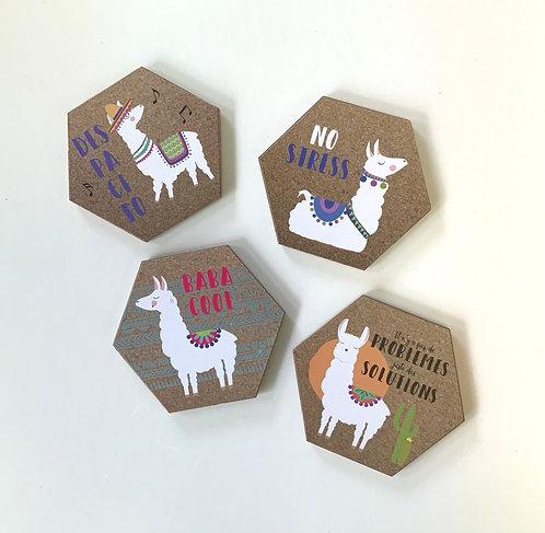 Ensemble de quatre sous-verre Lama