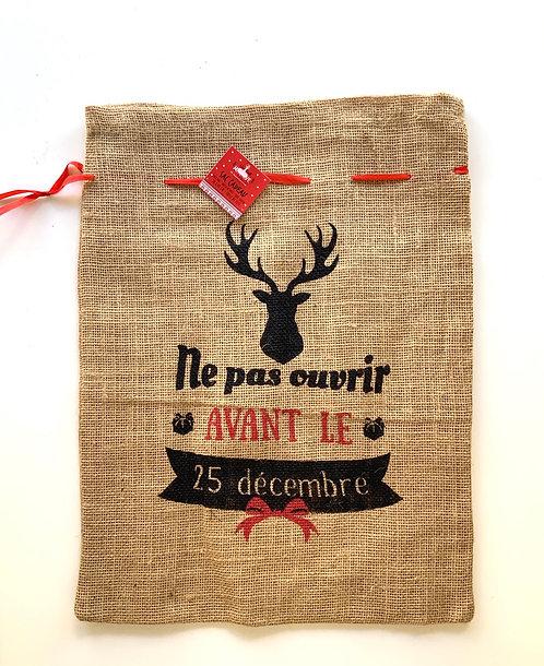 Sac cadeau en jute Ne pas ouvrir avant le 24 décembre
