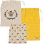 Ensemble de 3 sacs pour fruits et légumes Now designs abeilles