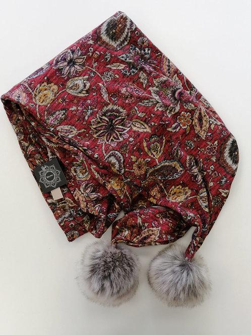 Foulard baluchon à pompon rouge à motif
