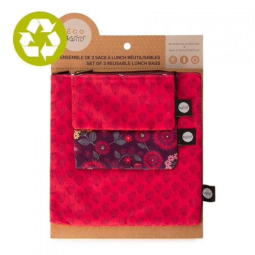 Trio de pochettes Ketto fleurs et motifs fuchsia