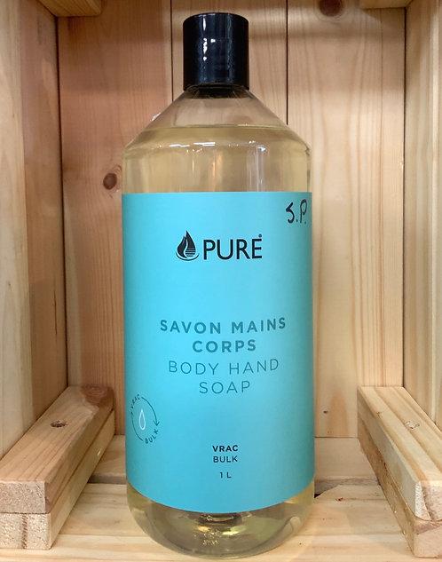 Nettoyant mains corps sans parfum  1 litre