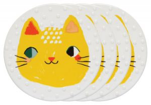Ensemble de 4 sous-verre en céramique Danica collection Meow meow