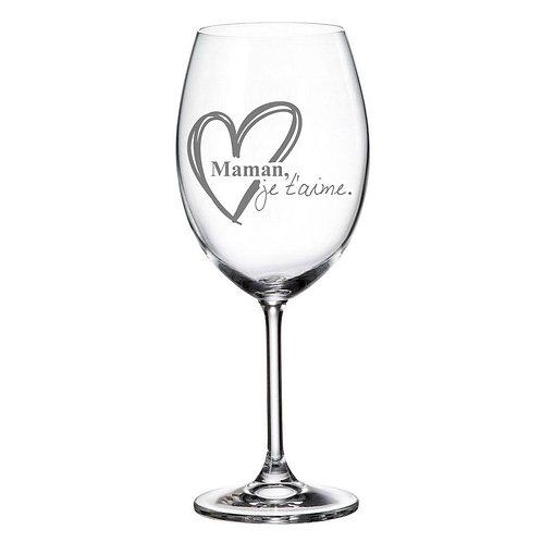 Verre à vin avec Gravure Maman je t'aime