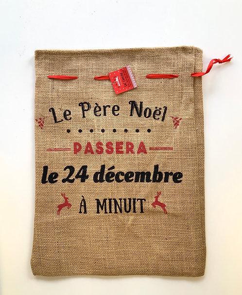Sac cadeau en jute Le père Noël passera le 24 décembre