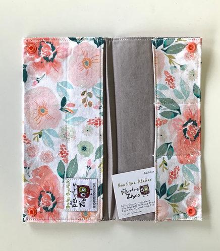 Protège passeport ziboo fleur rose