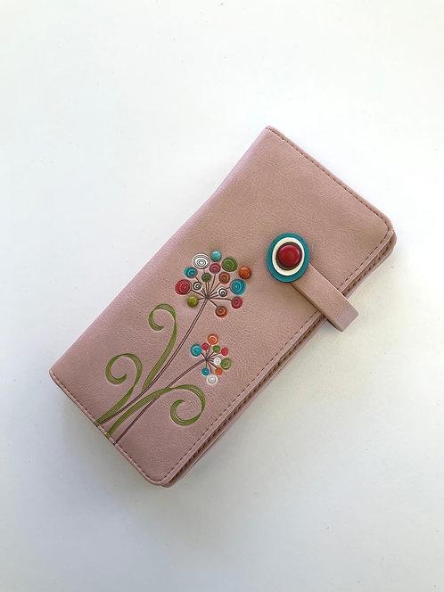 Porte-feuille Espe rose avec fleur