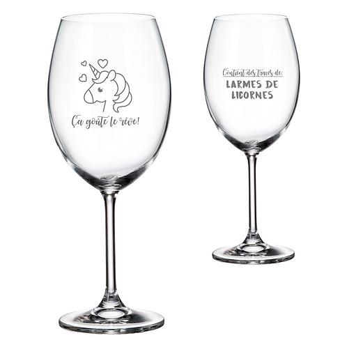 Verre à vin avec Gravure Licorne