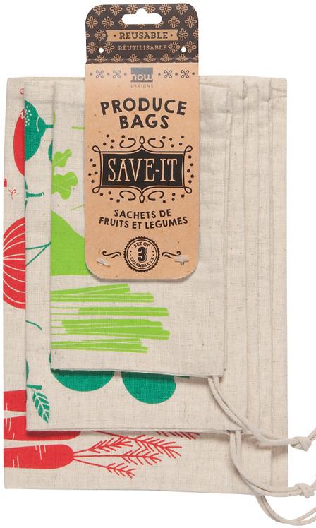 Ensemble de 3 sacs pour fruits et légumes Now designs