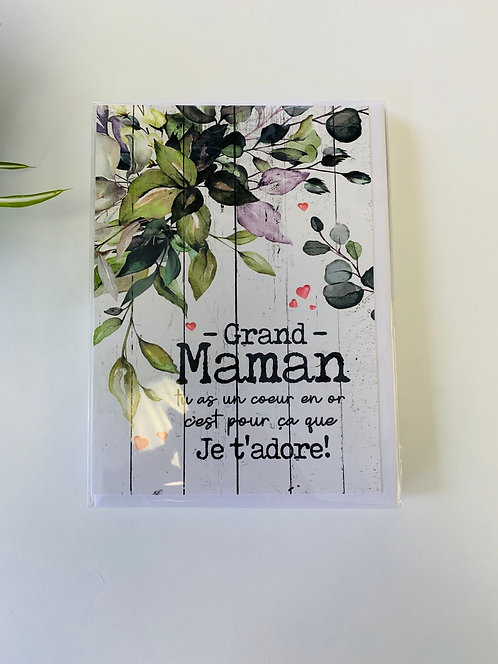 Carte sans texte grand-maman je t'adore
